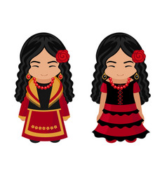 spanish girls in national costumes vector image