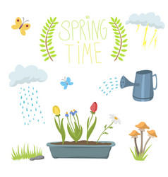 spring natural floral symbols with blossom vector image