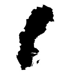 Sweden - solid black silhouette map of country vector
