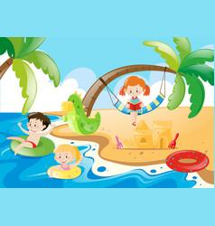 Three kids having fun at the beach vector