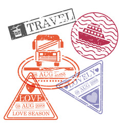 Travel stamps of cableway and bus and ship in vector