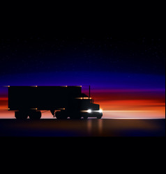 Truck moves on highway in night classic big vector