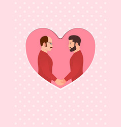 Two men multiracial gay couple in love holding vector