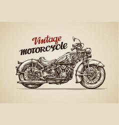 Vintage motorcycle Hand drawn motorbike vector image