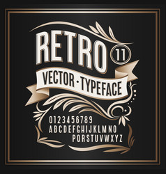 Vintage typeface retro golden badge on vector