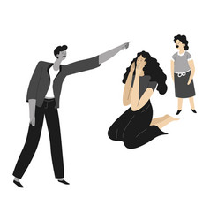 violent behavior man pointing to wife and vector image