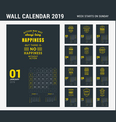wall calendar template for 2019 year set of 12 vector image