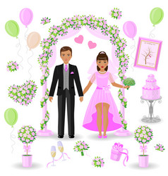 Wedding decorations in pink color vector