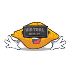 With virtual reality conchiglie pasta mascot vector