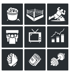 Wrestling Icons Set vector image