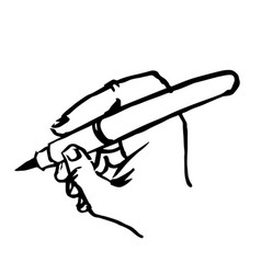 Writting hand with pen doodle hand drawn vector