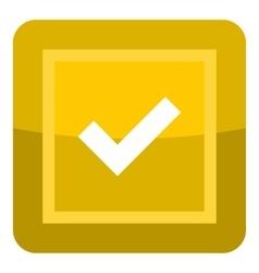 Yellow button icon cartoon style vector