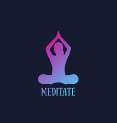 Yoga meditating girl in lotus position vector