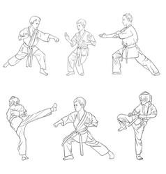 young karate boys vector image