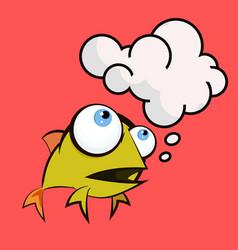 An of a happy goldfish cartoon vector