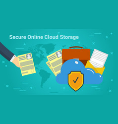 business banner - secure online cloud storage vector image