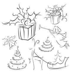 Christmas contour vector image vector image