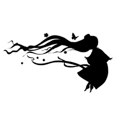 silhouette of a little girl vector image