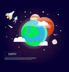 earth mars and jupiter of solar system design vector image vector image