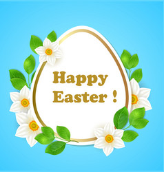 easter card with flowers and leaves vector image vector image