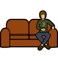 Man on a sofa vector image