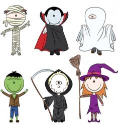 halloween characters vector image