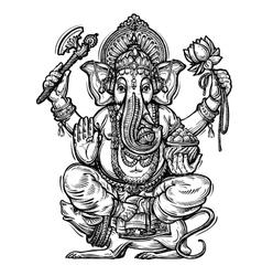 Hand drawn sketch Ganesh vector image vector image
