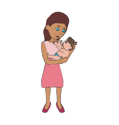 mom holding baby cartoon vector image