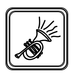 monochrome contour with trumpet hand drawn vector image vector image