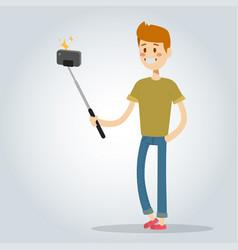 selfie man boy isolated vector image