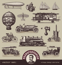 vintage means of transportation vector image vector image