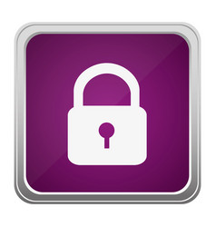 Violet square button relief with silhouette vector