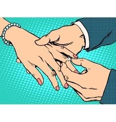 Betrothal wedding bride groom gold ring vector