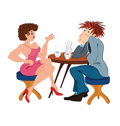 Cartoon couple sitting near the table and drinking vector image vector image