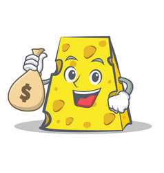 Cheese character cartoon style with money bag vector