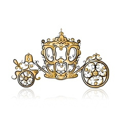 Golden carriage sketch for your design vector image