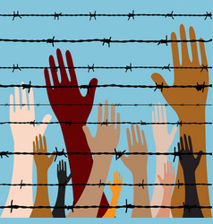 hand behind barbed wire seamless vector image