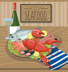 seafood on plate served with glass of wine vector image