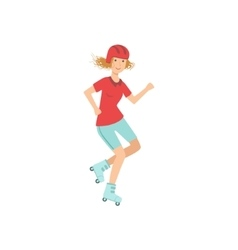 Woman Doing Roller Skating In Helmet vector image vector image
