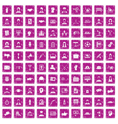 100 team work icons set grunge pink vector image