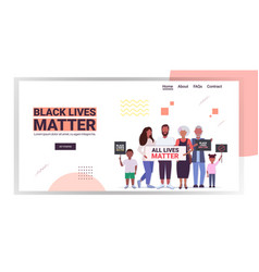 African american family with black lives matter vector