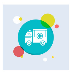 ambulance truck medical help van white glyph icon vector image