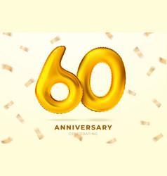 anniversary golden balloons number 60 vector image