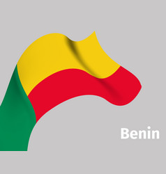 background with benin wavy flag vector image