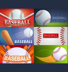 Baseball equipment banner set cartoon style vector