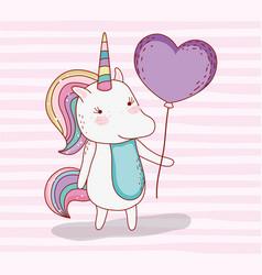 Beauty unicorn animal with heart balloon vector