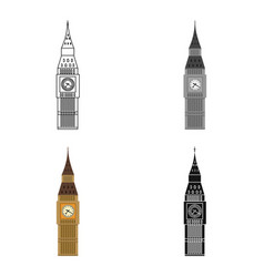 big ben icon in cartoon style isolated on white vector image