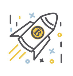 bitcoin icon thin line vector image