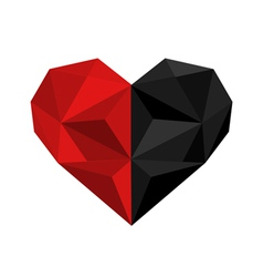 black and red origami heart vector image