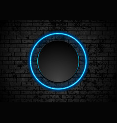 blue neon circle on grunge brick wall background vector image